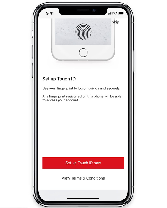 Touch ID authentication page