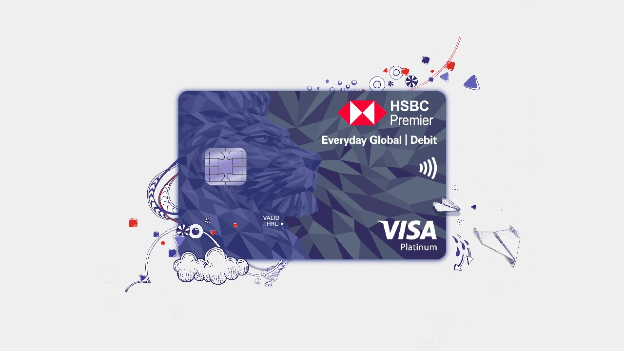 HSBC Everyday Global Visa Debit Card, with illustrations of cloud and paper planes.