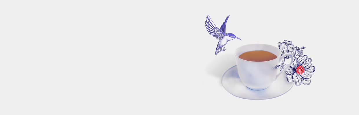 A bird is flying above a cup of tea; image used for global banking service.