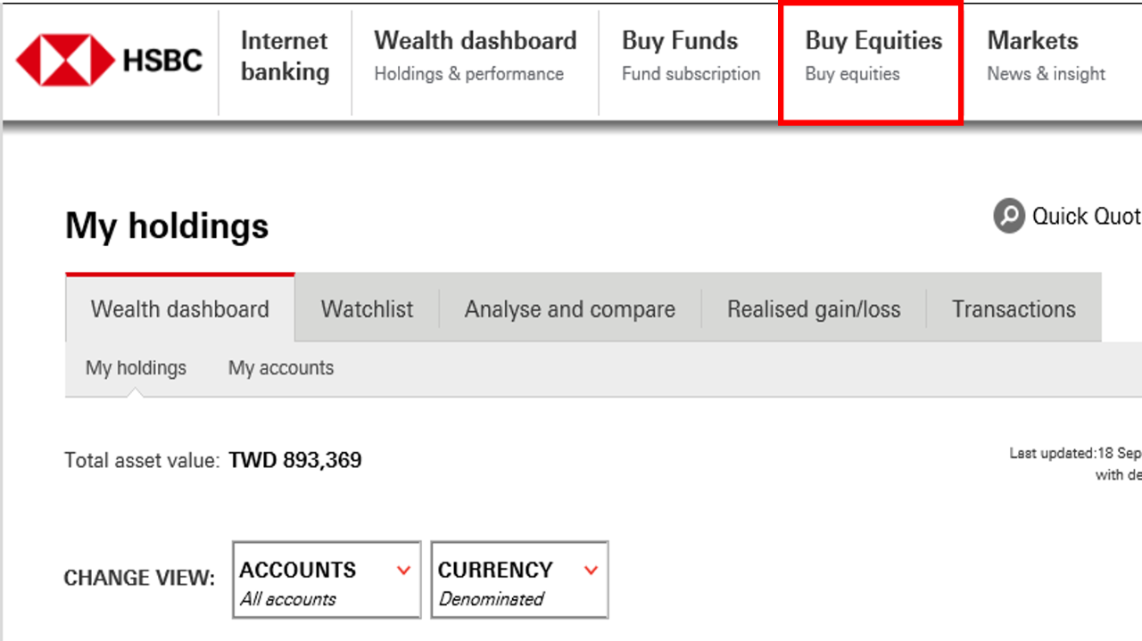 Click Buy Equities; image used for Exchange Traded Funds (ETF).